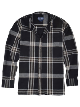 Indygo Smith Long Sleeve Plaid Sport Shirt in Blac
