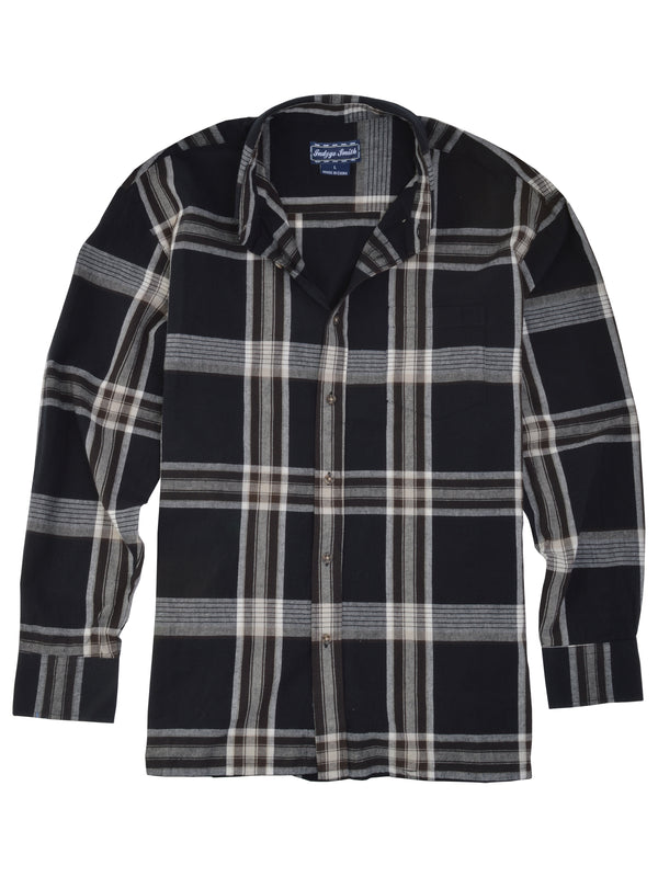 Indygo Smith Long Sleeve Plaid Sport Shirt in Black - Big Man Sizes