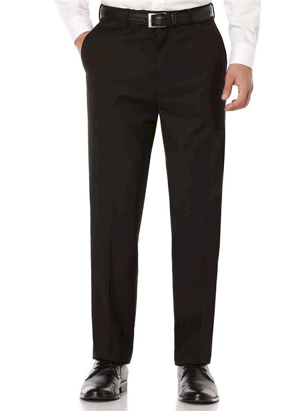 Farah Flat Front Polyester Crosshatch Dress Pants in Black - Regular Sizes