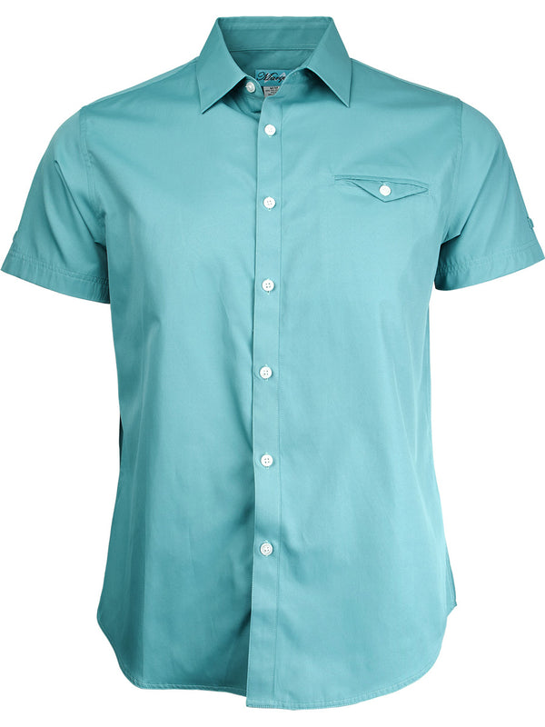 Marquis Cotton Blend Short Sleeve Welt Pocket Sport Shirts 17208 in Seafoam