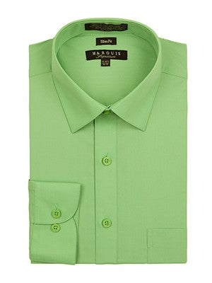 Marquis Men's Cotton Blend Slim Fit Dress Shirts - Regular Sizes - Apple Green