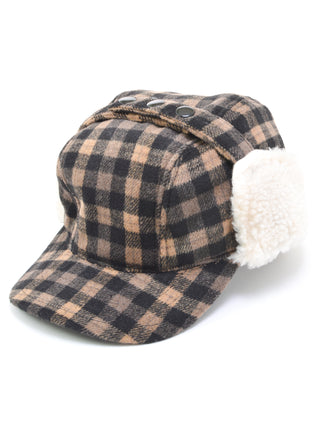 Broner Wool Blend Plaid Work Hat With Earflaps in Tan