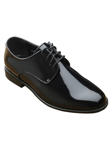 Fabian Men's Flat Black Plain Tuxedo Shoes - Wide