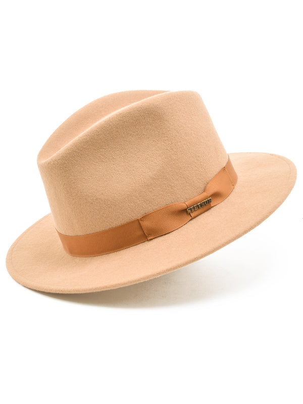 Stetson Wool Felt Markham Pinch Front Cowboy Hat in Light Beige