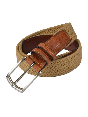 Torino Cotton Elastic Men's Belts in Camel - Regul
