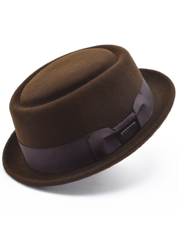 Stetson Wool Felt Cranston Pork Pie Men's Hat's in Chocalate
