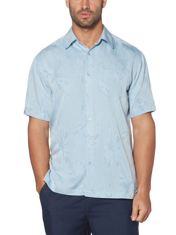 Cubavera Short Sleeve Subtle Floral Jacquard Shirts in Blue