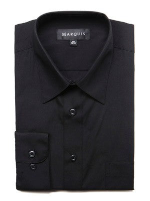 Marquis Men's Cotton Blend Slim Fit Dress Shirts - Regular Sizes - Black