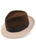 Stetson Two-Tone Duetoni Fedora Hat in Tan / Brown