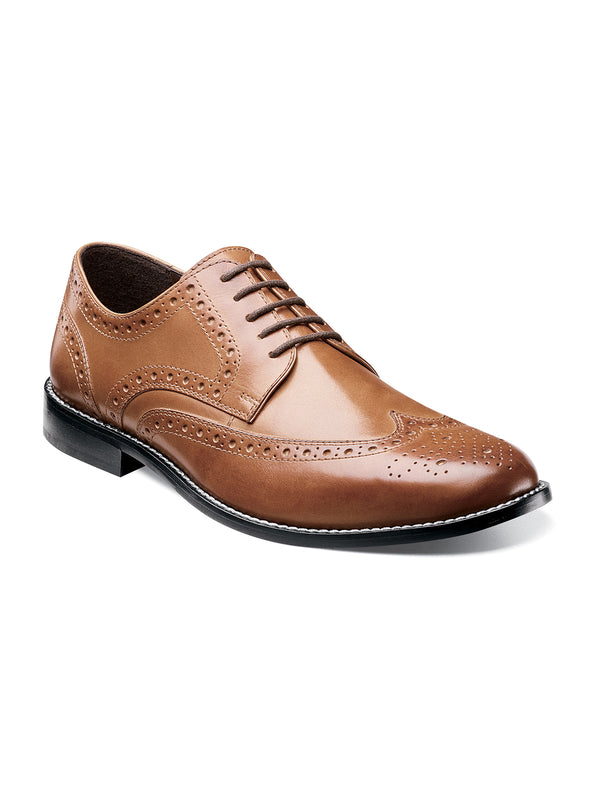 Nunn Bush Nelson Wingtip Oxford Dress Shoe in Cognac - Wide Width