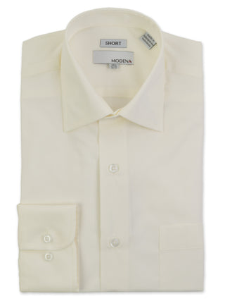 Modena Short Man Cotton Blend Dress Shirts in Eggshell - Short Man Sizes