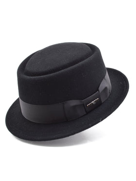 Stetson Wool Felt Cranston Pork Pie Men's Hats in Black