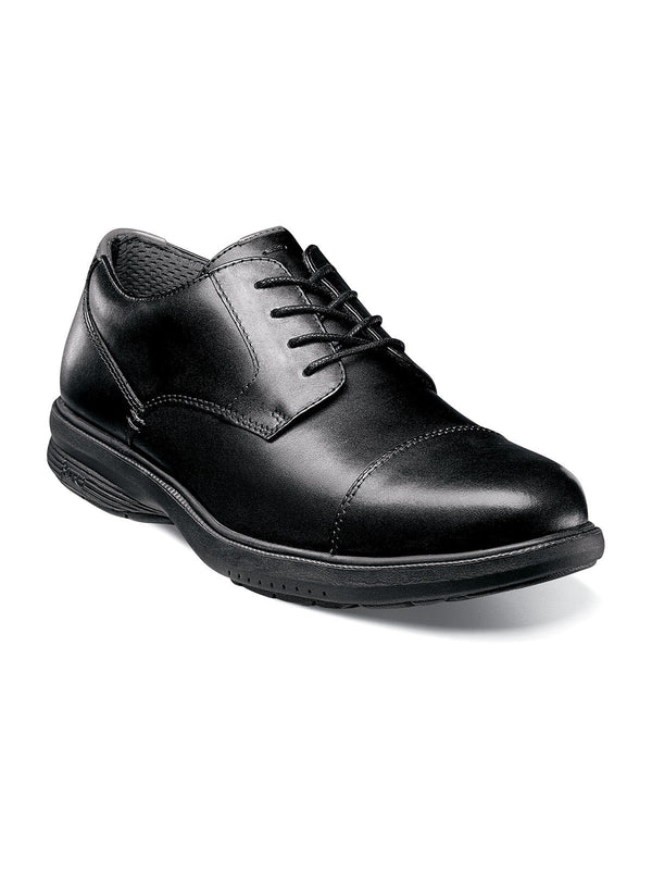 Nunn Bush Melvin Street Cap Toe Oxford Shoes in Black - Wide Width