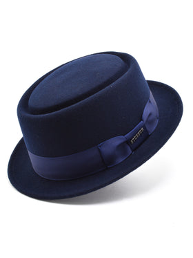 Stetson Wool Felt Cranston Pork Pie Men's Hats in Navy