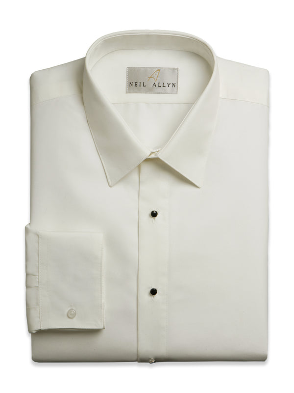 Neil Allyn Laydown Collar Men's Dress Shirts in Ivory - Tall Man Sizes