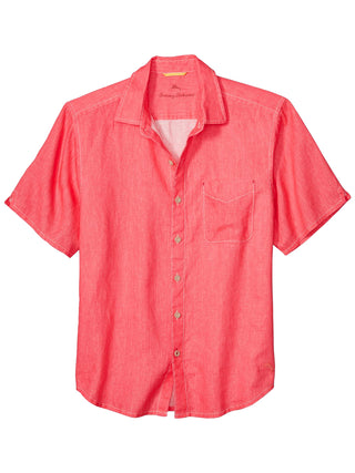 Tommy Bahama 100% Linen Short Sleeve Sea Glass Breezer Shirt in Pink