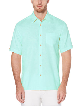 Cubavera Short Sleeve Linen Blend Sport Shirts in