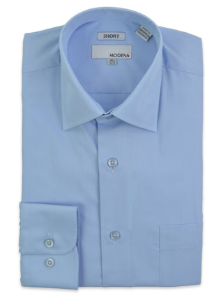 Modena Short Man Cotton Blend Dress Shirts in Powder Blue - Short Man Sizes