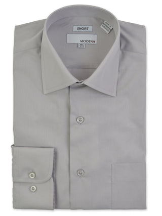 Modena Short Man Cotton Blend Dress Shirts in Gray - Short Man Sizes