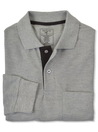 Foxfire Long Sleeve Cotton Blend Men's Polo Shirts in Grey - Regular Sizes