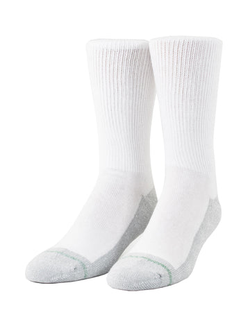 Loose Fit Stays Up Crew Athletic Socks in White -