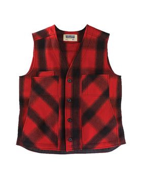 Stormy Kromer 100% Wool Button Vest in Red / Black - Tall Sizes