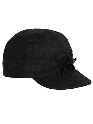 Origional Stormy Kromer Waxed Cotton Caps With Ear Band in Black - 50420-BLK