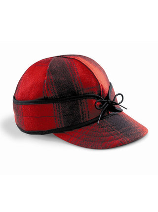 Origional Stormy Kromer Caps With Ear Band in Red/Black Plaid - 50010-RBK