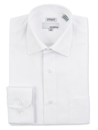 Modena Stout Men's Dress Shirts in White - M300XFBR-WHT
