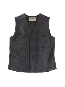 Stormy Kromer 100% Wool Button Vest in Charcoal Grey - Tall Sizes