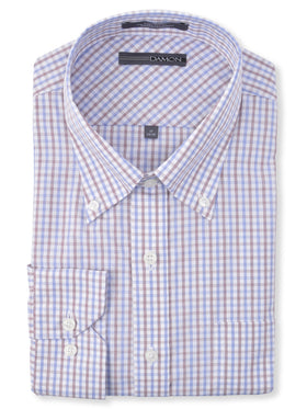 Damon Long Sleeve Dixon Check Dress Shirts in Wine