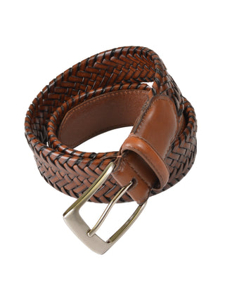 Outfitter Genuine Leather Braided Stretch Belts in Tan - Regular Sizes
