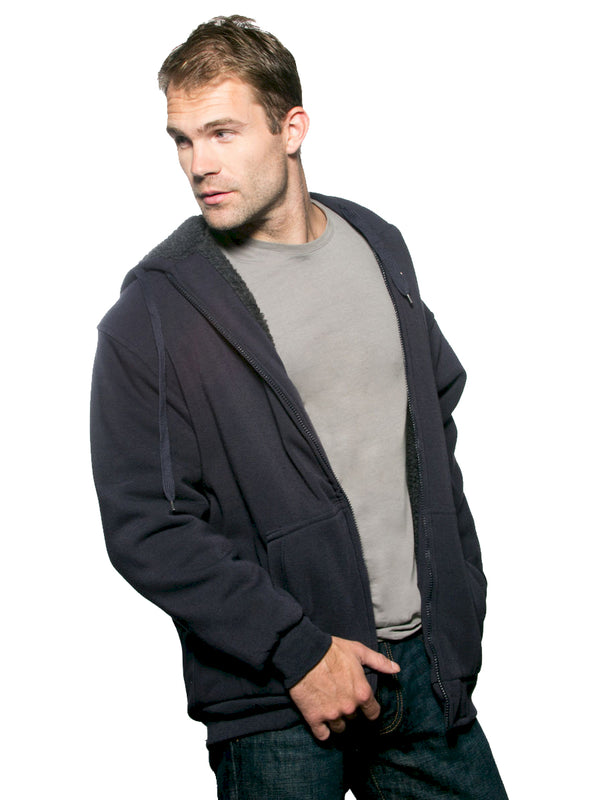 i5 Apparel 100% Polyester Fleece Hoodie with Sherpa Lining in Navy - Big Man Sizes