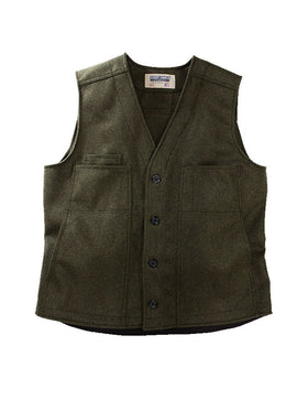 Stormy Kromer 100% Wool Button Vest in Olive - Tall Sizes