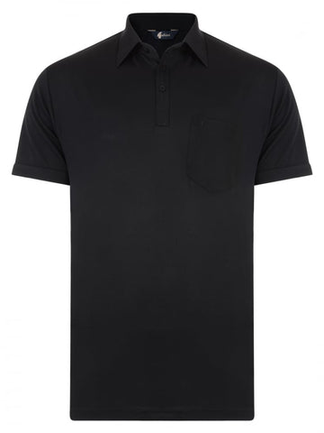 Gabicci Short Sleeve Cotton Blend Polo in Black -