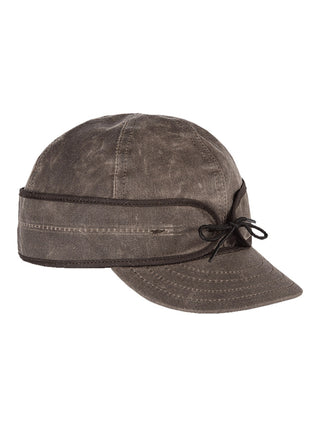 Origional Stormy Kromer Waxed Cotton Caps With Ear Band in Dark Oak - 50420-DKO