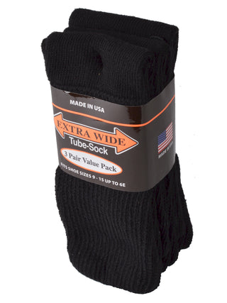 Extra Wide Men's Tube Sock 3-Pack in Black - Shoe Sizes 9 - 15