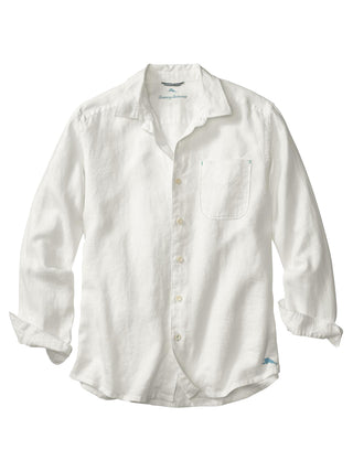 Tommy Bahama 100% Linen Long Sleeve Sea Glass Breezer Shirt in White