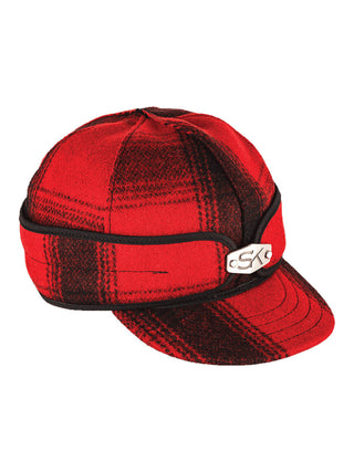 Stormy Kromer Original Caps with Hardware and Ear Band in Red/Black Plaid - 50150-RBK