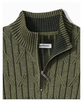 Tommy Bahama Deep Sea Half Zip Cable Sweater in Beetle Green