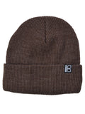 Fine Gauge Rib Knit Beanie in Brown