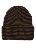 Striped Knit Cuff Cap in Brown