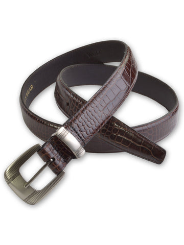 Marc Wolf Embossed Crocodile Belts in Brown 6006B-