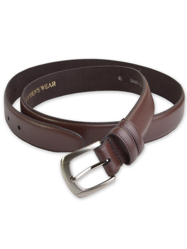 Marc Wolf Leather Dress Belts - Brown with Silver Buckle 400SLV-A-BRN (34-42)