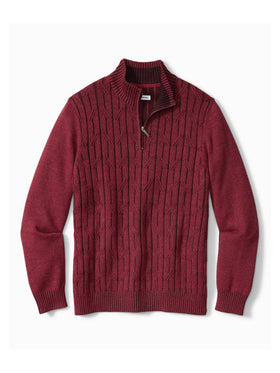 Tommy Bahama Deep Sea Half Zip Cable Sweater in Cherry Stone