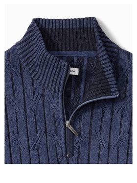 Tommy Bahama Deep Sea Half Zip Cable Sweater in Eclipse
