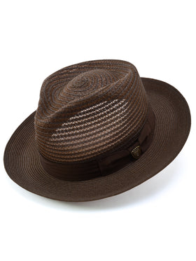 Dobbs Golden Coast Vented Milan Straw Hat in Brown