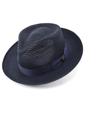 Dobbs Golden Coast Vented Milan Straw Hat in Navy