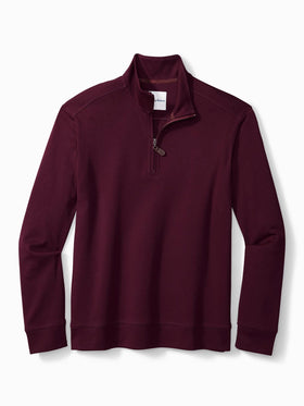 Tommy Bahama Martinique Half Zip Sweater in Rum Berry