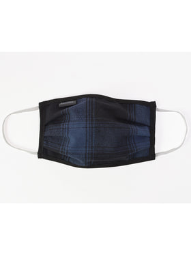 Stormy Kromer Flannel Face Covering in Black/Indigo Plaid